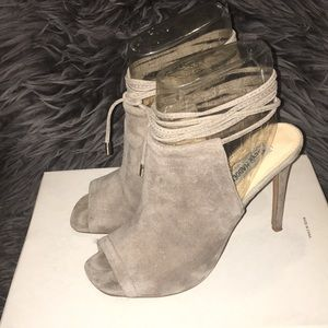 Lace Up Faux Suede Gray Heels
